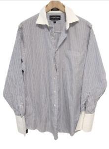 Joseph & Lyman blue white striped button up shirt Mens