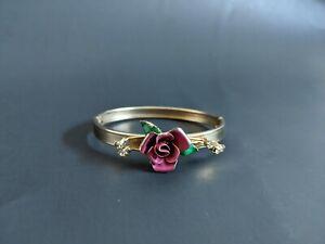 Vintage Gold Tone with Pink Enamel Rose Rhinestones Hinged Bangle Bracelet
