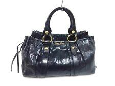 Auth miumiu Gathered Bag Black Leather Tote Bag