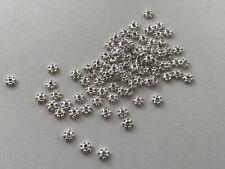 100 Stern Blume Zwischenperle 4 mm Daisy Spacer silber Metallperlen Engel M113.1