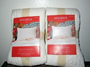 Set of 2 NEW Standard Holiday White Stitched Medallion Pillow Shams by Opalhouse