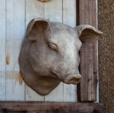 Pig Head Wall Mount Stone Sculpture