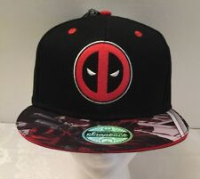 NEW Marvel Deadpool Attack Snap Back Adjustable Black Cap with Embroidered Logo