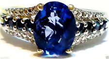 BLUE FLUORITE OVAL SOLITAIRE & BLUE SAPPHIRE ROUND RING, 925, SIZE 8, 2.75(TCW)