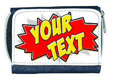 POW ZAP COMIC TEXT (ANY TEXT OR NAME) PERSONALISED DENIM PURSE / MINI WALLET