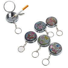 Pocket Portable Stainless Steel Round Cigarette Ashtray Keychain Keyring