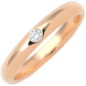 Authentic HARRY WINSTON Round Marriage Ring 1P Diamond Rose Gold US6 Used F/S