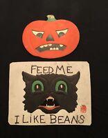 Vintage H E Luhrs Die-Cut Embossed Halloween Jack-o-lantern Pumpkin Black Cat