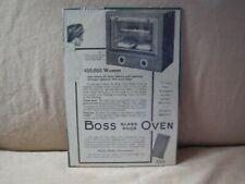 1913 Boss Glass Door Oven Small Magazine Ad - Original - Black & White