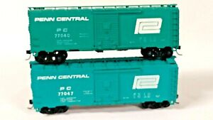 (2) Athearn Penn Central Jade Green 40' Box Cars, Kadee's, Different Numbers
