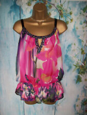 NEW NEXT OVERLAY FLOATY TOP SIZE 20,Pink mix Chiffon holiday jewel party Tunic