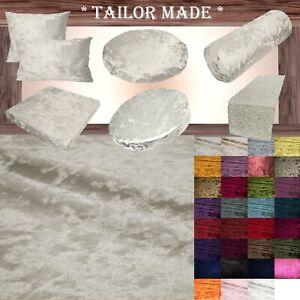 Mv01 Cream Shiny Velvet Sofa Seat Patio Bench Box Cushion Bolster Cover/Runner