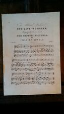 1840'S ANTIQUE VICTORIAN SHEET MUSIC GOD SAVE THE QUEEN NATIONAL ANTHEM - ARNOLD