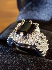 black Sapphire quartz and cz Healing Properties silver cabochon ring 7 us
