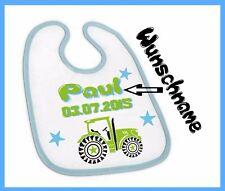Baby Lätzchen mit Wunsch-Name und Geburtsdatum Traktor für Jungen