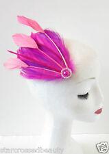 Hot Pink Purple Peach Feather Fascinator Headpiece Vintage Hair Clip Races O79