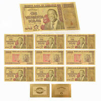WR 10pcs Zimbabwe $1 Vigintillion Dollars Color Gold Banknote Collection Gift