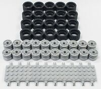 ☀️NEW Lego 24 X 14 Tire, Wheel and Technic Plate Axles Bulk Lot 50 Pieces Total