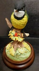 """THE GOLDEN WHISTLER """"DAITO""""Hand Painted Fine Porcelain Bird Figurine Wood Base"""