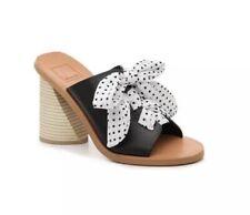 $140 Dolve Vita Black Heeled Sandal Ribbon Polka Dot
