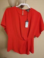 Ladies Red Blouse Top Bnwt UK 10 Primark Short Sleeved