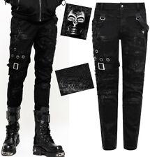 Steampunk Ripped zerreißen Jeans Hose Gothic Metall Ösen Riemen PunkRave Herren