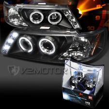 For 95-99 200Sx Sentra Black LED Halo Projector Headlights+H3 Halogen Bulbs