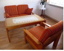 3er SET Couchgarnitur GLASTISCH Sofagarnitur Sessel Sofa Couch ECHTHOLZ KIEFER