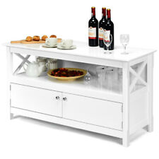 Modern Free Standing TV Cabinet Wooden Console TV Entertainment Center White