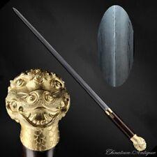 Chinese Single Handed Dragon Lion Battle Sword Folded Pattern Steel Sharp #5268