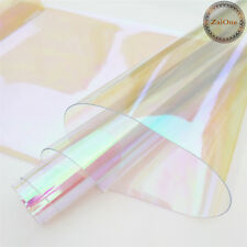 """37"""" Clear Holographic Iridescent PVC Fabric Mirrored Film Vinyl Crafts Bows Bag"""