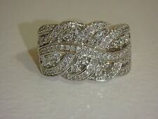 14K WHITE GOLD BRAIDED DESIGN DIAMOND BAND RING BY AFFINITY  3/4 CTTW SIZE 7 QVC