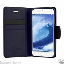 iPhone 6/6s & 6/6s Plus Genuine Goospery Navy Blue Leather Wallet Case Cover