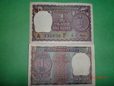 """INDIA PAPER MONEY-OLD CURRENCY NOTE-RUPEE 1/- """"1973"""" -RARE-M.G.KAUL-'F'- A-29/6"""