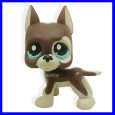 Littlest Pet Shop Great Dane Dog Puppy Brown Chocolate Blue Eyes LPS #817B