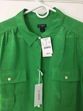 J. Crew NWT Green Silk Blouse Size L $95