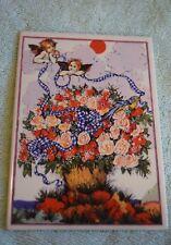 TP-006 Vintage Vilbo Card Villeroy & Boch Flower Scene Ceramic Greeting Card