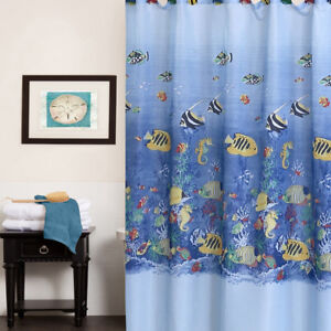 "Fabric Shower Curtain 70"" x 72"" Colorful Tropical Sea Print"