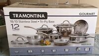 QUALITY $700 Tramontina 12 Pc Gourmet Tri-Ply Base Cookware Set Stainless Steel