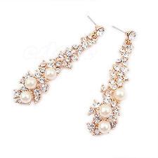 Crystal Women Lady's Pearl Rhinestone Dangle Chandelier Earrings Beauty Jewelry