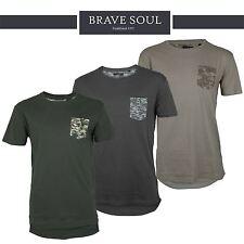 Mens Brave Soul Longline Short Sleeve Camo Army T-Shirt 100% Cotton Designer Top