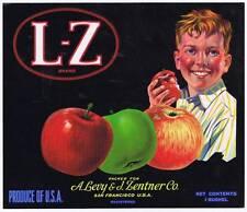 LZ, Original California Pomme Caisse Label, San Francisco un Levy & J Lentner Co