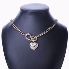 Women Rhinestone Heart Collar Bib Statement Necklace Valentine's Day Gift