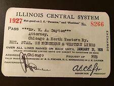 1927 Illinois Central Railroad Company railroad pass