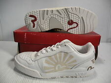 EVISU MUTHAS SUN LOW SNEAKERS MEN SHOES WHITE/GOLD *V-116080 SIZE 12 NEW