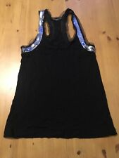 Ladies Black Silver Night Out Top Sequin Bling Size 12 Strap
