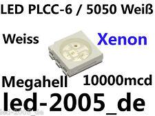 30 x LED SMD Sop - 6 blanco 10000mcd, SMD LED 5050 White, LED SMD PLCC 6 blanches,