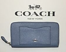 NWT Coach F21073 Dusk Blue Glitter Leather ZipAround Wallet + 25%off next order*