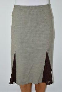 Karen Millen Beige Brown Lace Aline Skirt Wool Blend Spring W30 Size 8 10 AT