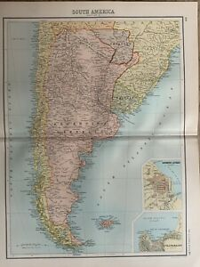 1898 CHILE & ARGENTINA ANTIQUE COLOUR MAP BY BARTHOLOMEW 122 YEARS OLD